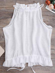 Tie Back Frilled Tank Top - White S