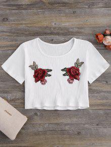 Blusa Corta Acanalada Con Parche Floral - Blanco Leche L