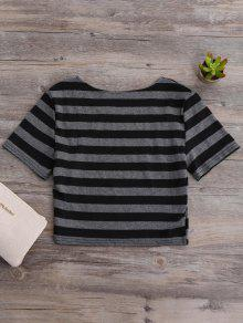 10992a818ea096 26% OFF] 2019 Fitted Striped Crop Top In BLACK AND GREY | ZAFUL