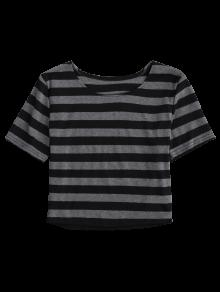 397e97a4cbc72d 57% OFF  2019 Fitted Striped Crop Top In BLACK AND GREY