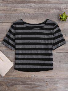 Fitted Striped Crop Top - Black And Grey L