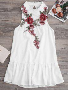 Patches Frill Hem Mini Dress - White S