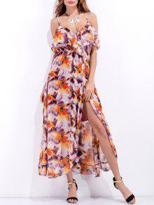 الفستان المكشكش بطبع الزهور مع الشق المرتفع - أرجواني M