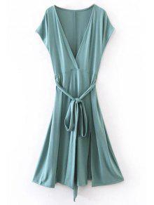 Belted Plunging Neck Slit Dress - Blue Green M