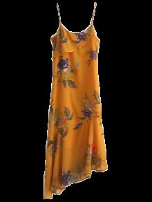 Floral Asymmetric Slip Dress - Deep Yellow M