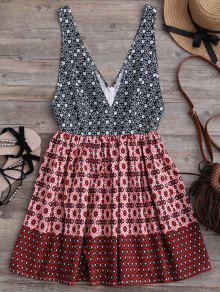 Mini Vestido Con Estampado Con Escote Pico - Multicolor M