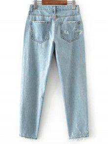 a0053fff82 33% OFF  2019 Calça Jeans Bordado E Desfiado Com Azul Claro