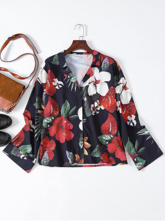 hot Floral Lapel Collar Shirt - FLORAL S