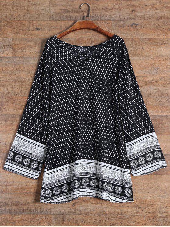 فستان منمط شريط - أسود L