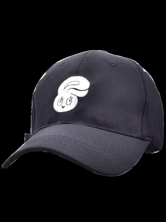 Casquette de Baseball rose et brodée de tête de lapin en cartoon - Noir