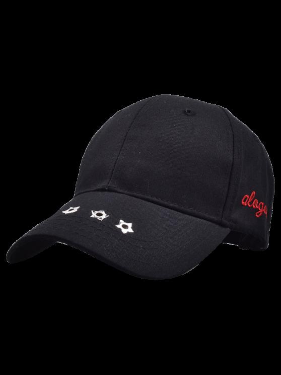 Casquette graphique de Baseball agrémentée de rivets étoilés - Noir