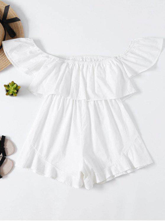 womens Frilly Off The Shoulder Beach Romper - WHITE S
