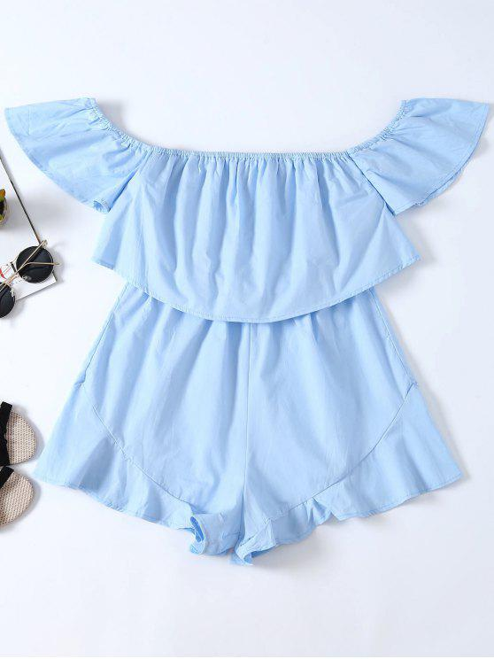 new Frilly Off The Shoulder Beach Romper - BLUE XL