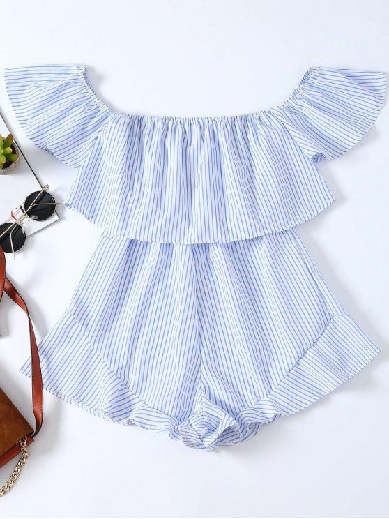 outfits Frilly Off The Shoulder Beach Romper - BLUE AND WHITE L