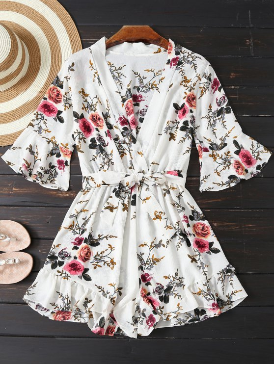 trendy Floral Plunging Neck Belted Romper - WHITE S
