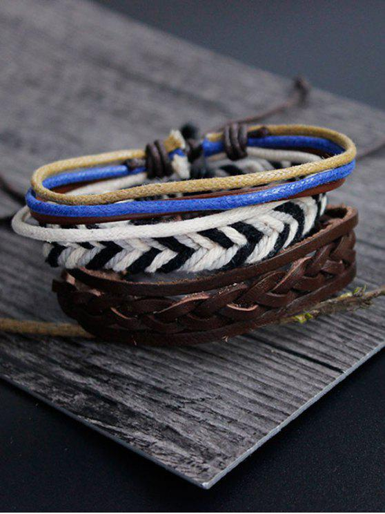 buy Faux Leather Rope Woven Bracelet Set - MULTICOLOR