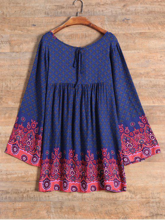Manga del vestido lleno de Tiny floral delantal - Azul Purpúreo S