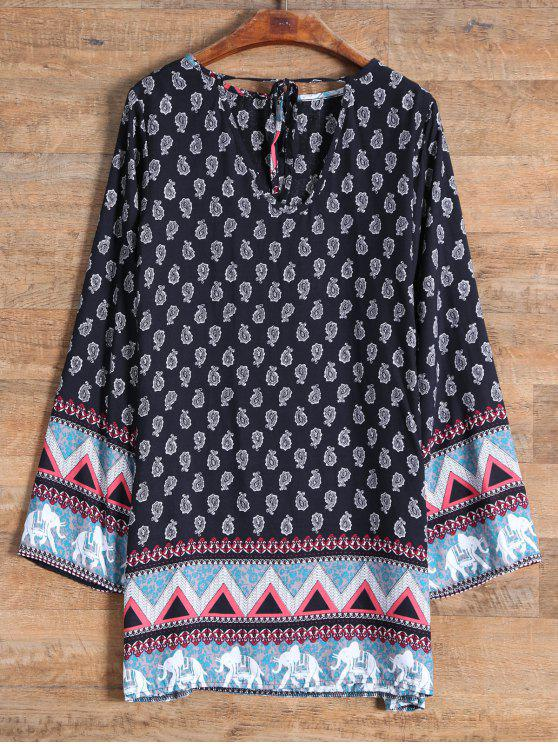 affordable Long Sleeve Elephant Printed Dress - BLACK S