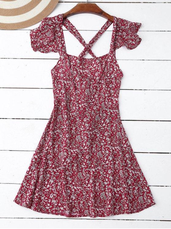 Vestido de Flores Minúsculos con Volantes con Detalle Cruzado en Espalda - Rojo L