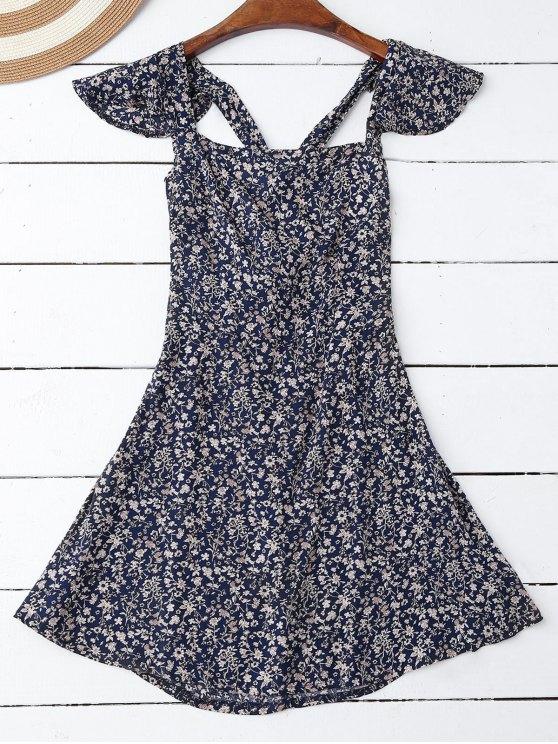 Vestido de Flores Minúsculos con Volantes con Detalle Cruzado en Espalda - Azul Purpúreo M