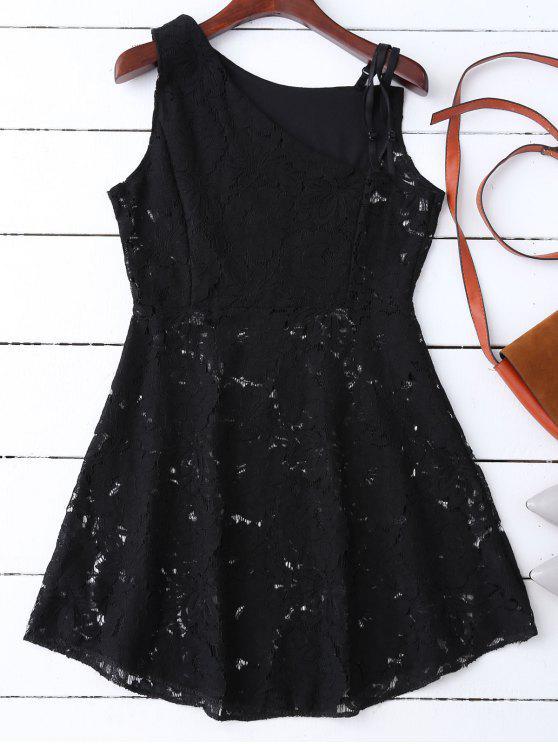 fashion Sleeveless Laser Cut Lace Dress - BLACK XL