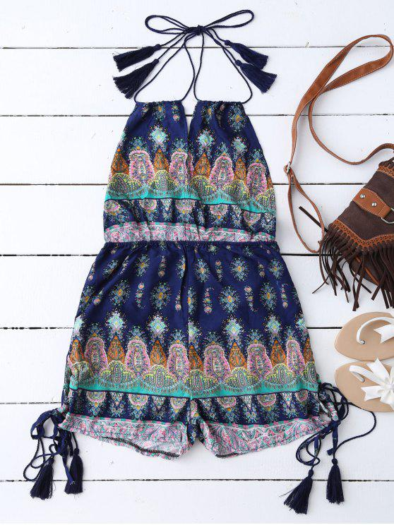 Sin espalda Mandala Imprimir mini vestido - Azul XL
