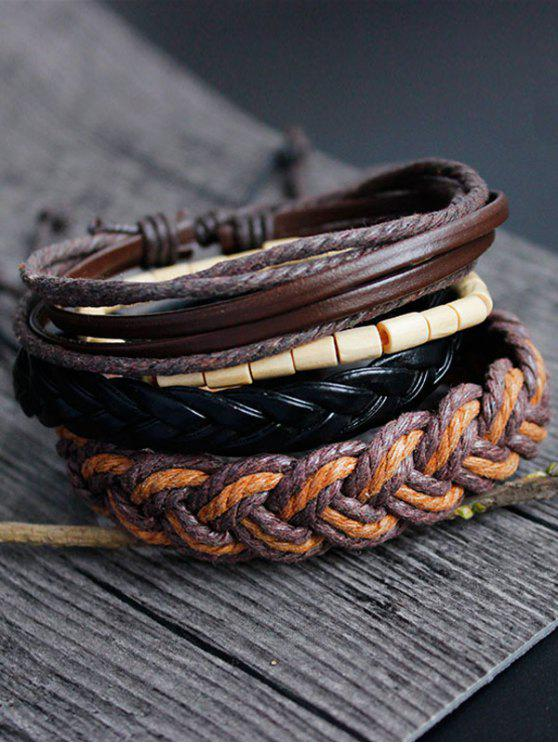 women's Bamboo Woven Faux Leather Bracelet Set - MULTICOLOR