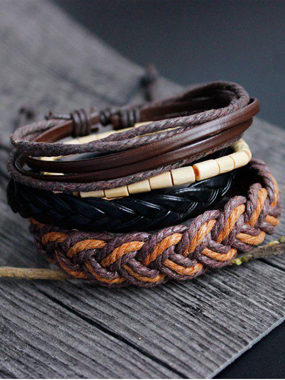 Cuero de imitación de bambú tejido de la pulsera de la cuerda - Multicolor