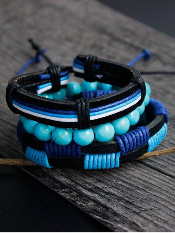women Artuficial Turquoise Leather Woven Bracelet Set - CHARM
