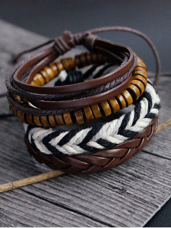 Bracelets d'amitié en faux cuir tissés à la main - Brun
