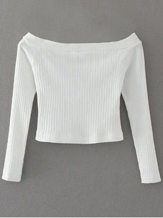 a91f8a2b924 22% OFF] 2019 Ribbed Off Shoulder Cropped T-Shirt In WHITE | ZAFUL