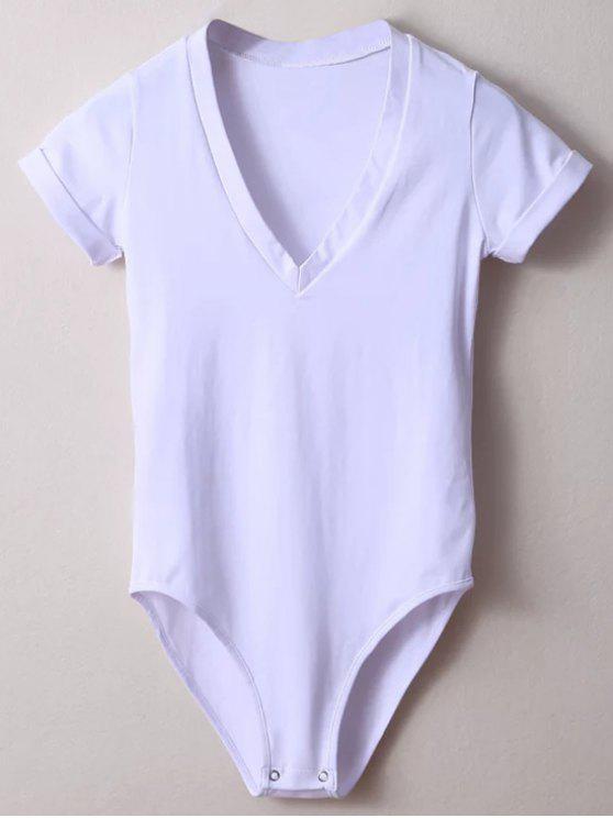 online Skinny Plunging Neck Bodysuit - WHITE S