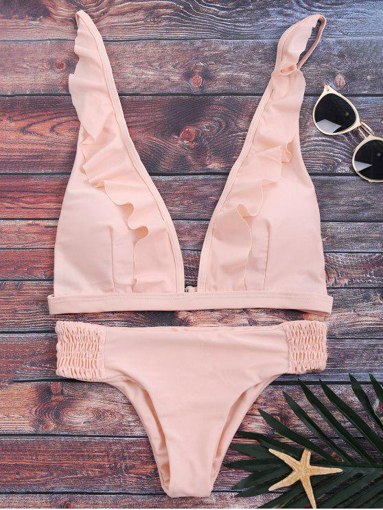 Bikini Volantes Cuello V Largo Plisado - Rosa M