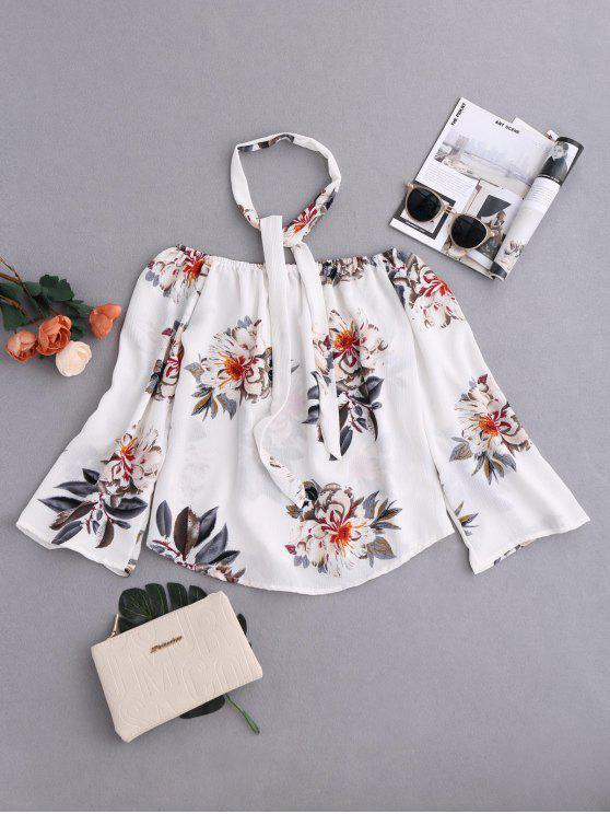 shop Floral Off Shoulder Choker Blouse - COLORMIX XL