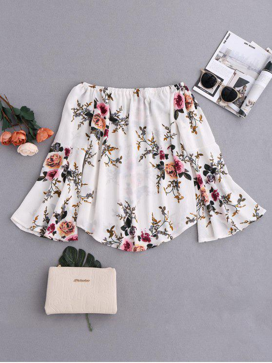shops Floral Flare Sleeve Off Shoulder Blouse - WHITE XL