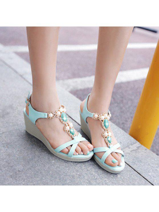 buy T Strap Faux Leather Sandals - WINDSOR BLUE 37