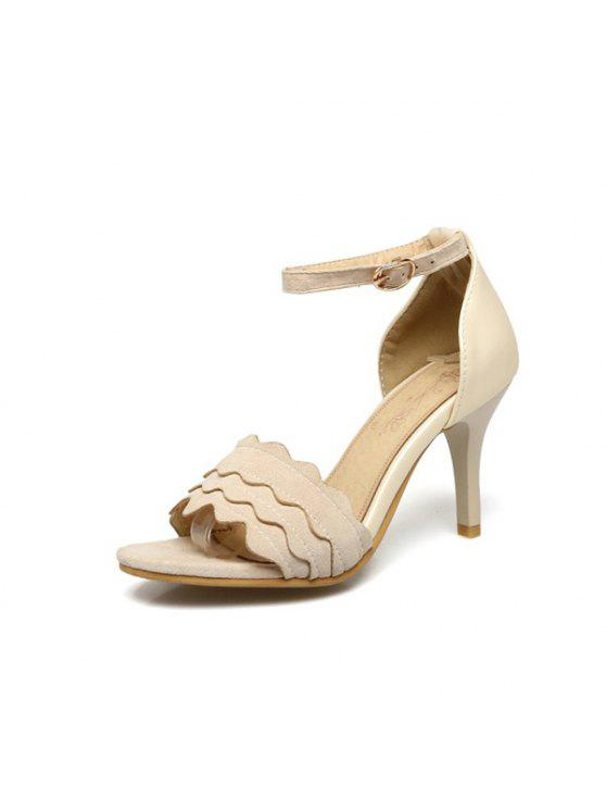 women's Wavy Edge Faux Leather Sandals - BEIGE 39