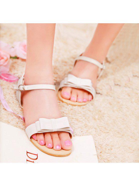 trendy Bow Flat Heel Sandals - WHITE 39
