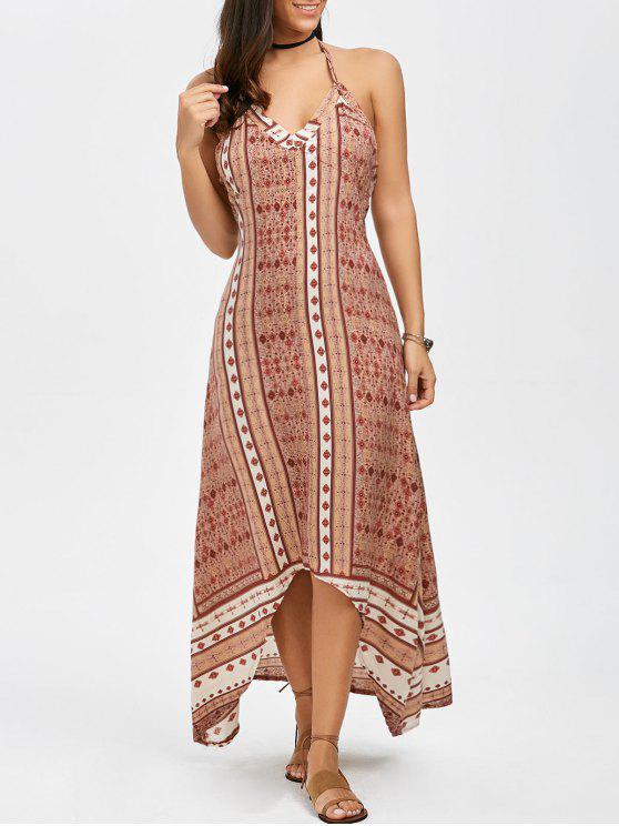 فستان بوهيمي طويل رسن طباعة - Orangepink L