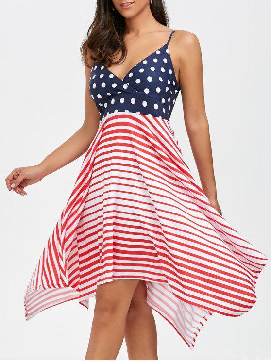 فستان مثير بوهيمي غير متماثل مخطط مثير - Colormix L
