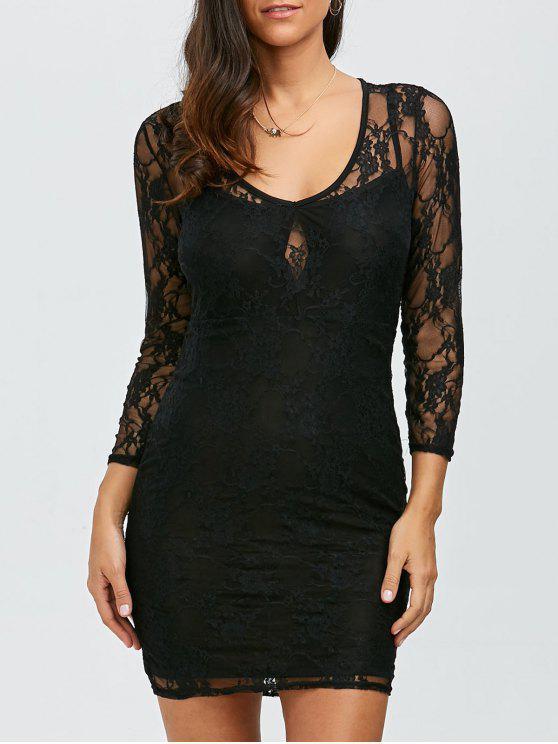 فستان شفاف دانتيل مصغر ضيق - أسود واحد الحجم (حجم صالح XS إلى M)