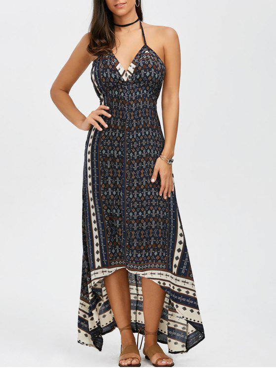 فستان بوهيمي طويل رسن طباعة - أزرق S