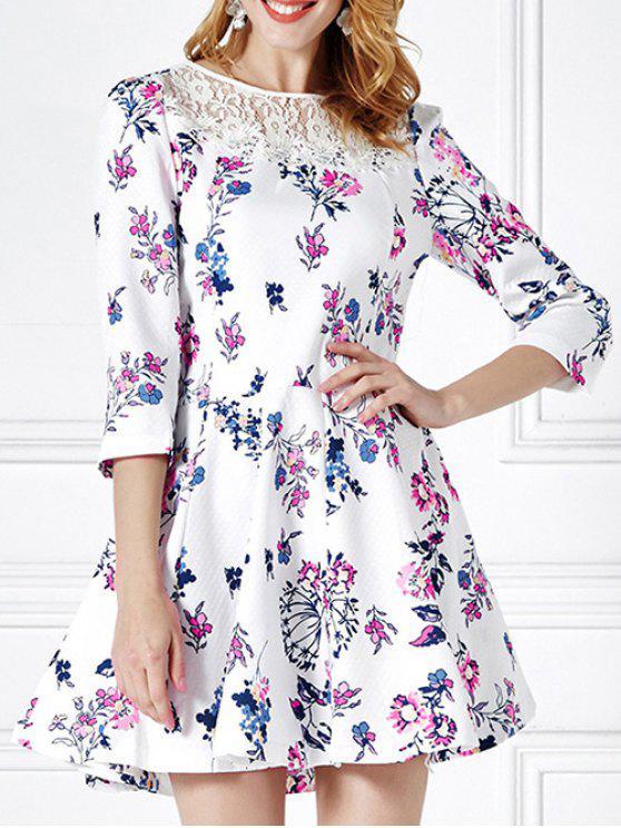Blumendruck-Spitze-Panel Mini ausgestelltes Kleid - Weiß XL