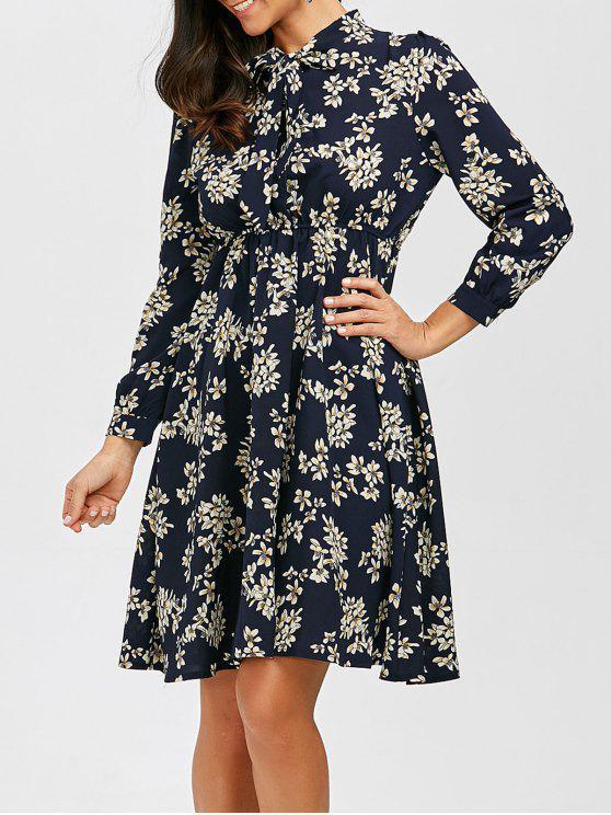 فستان شيفون طباعة الأزهار ربطة فراشية بخط A - الأرجواني الأزرق L