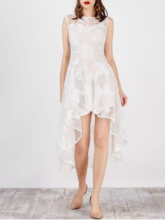 فستان طباعة بنمط الفراشة عالية انخفاض - أبيض L