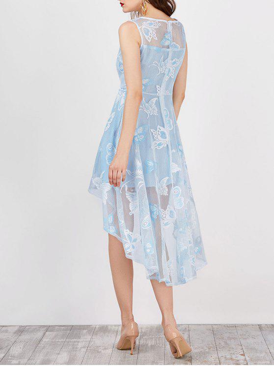فستان طباعة بنمط الفراشة عالية انخفاض - أزرق فاتح L