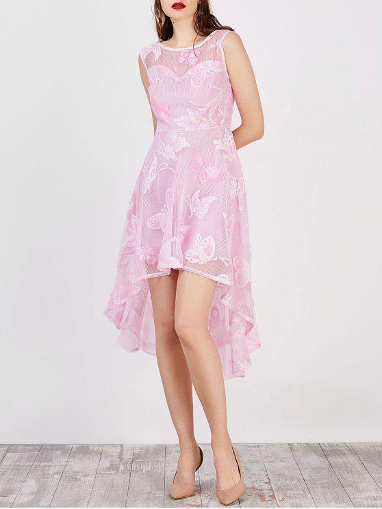فستان طباعة بنمط الفراشة عالية انخفاض - زهري S