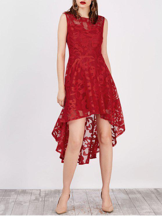 فستان بلا أكمام عالية انخفاض دانتيل - أحمر 2XL