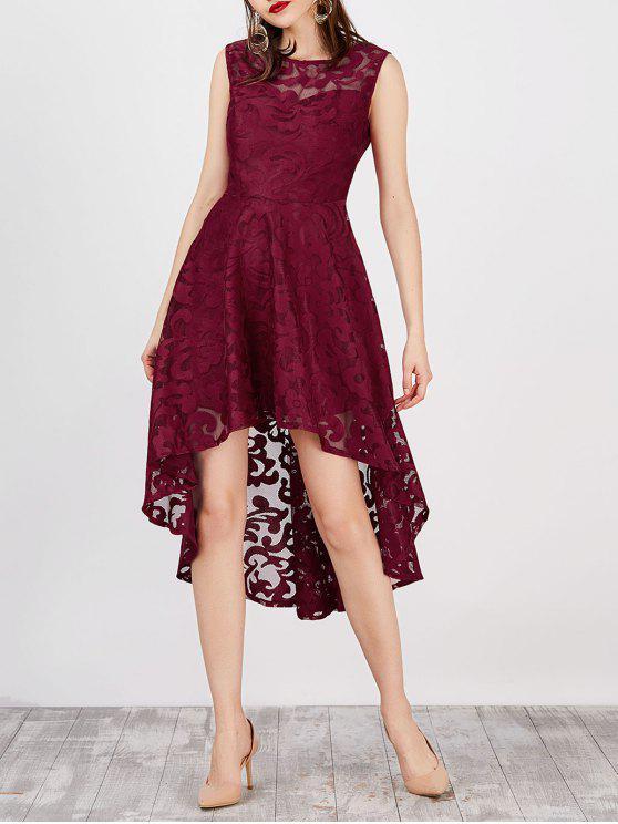 فستان بلا أكمام عالية انخفاض دانتيل - نبيذ أحمر XL