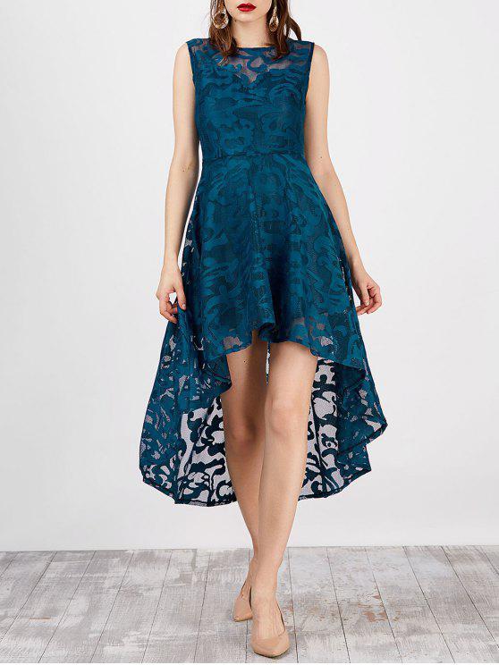 فستان بلا أكمام عالية انخفاض دانتيل - بانتون الفيروز 2XL